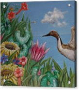 Flowers And Bird By The Sea Acrylic Print