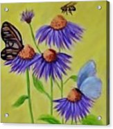 Flowers And Butterflies Acrylic Print