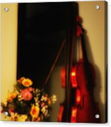 Flowers And Violin Acrylic Print
