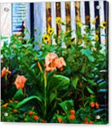 Flowers At The Fountain Of The Plaza Hotel Acrylic Print
