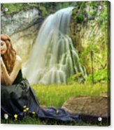 Flowers By The Falls Acrylic Print