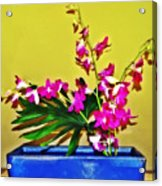 Flowers In A Blue Dish - Japanese House Acrylic Print