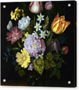 Flowers In A Glass Vase Acrylic Print