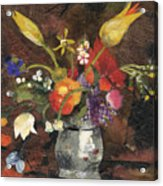 Flowers in a silver vase Acrylic Print