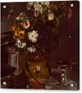 Flowers In A Vase And A Glass Of Champagne Acrylic Print