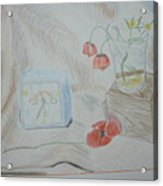 Flowers In Glass. Color Pencils 1992 Acrylic Print