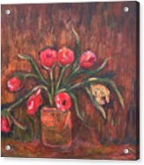Flowers Of Pink In Vase Acrylic Print