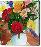 Flowers On A Cat Dish Acrylic Print