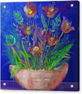 Flowers On Blue Acrylic Print