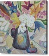 flowers Tin Vase and Tea Cup  Acrylic Print