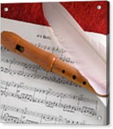 Flute And Feather Acrylic Print