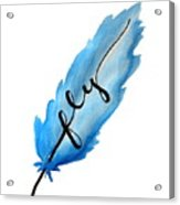Fly Blue Feather Vertical Acrylic Print