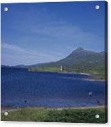 Fly Fishing  By Ardvreck Castle Loch Assynt Scotland Acrylic Print