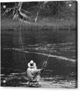 Fly Fishing In Black And White Acrylic Print