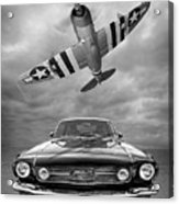 Fly Past - 1966 Mustang With P47 Thunderbolt In Black And White Acrylic Print