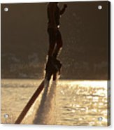 Flyboarder And Water Droplets Backlit At Sunset Acrylic Print
