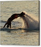 Flyboarder Diving In Up To His Arms Acrylic Print