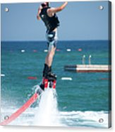 Flyboarder Falling Backwards Next To Swimming Platform Acrylic Print