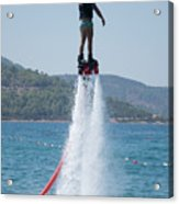 Flyboarder Giving Victory Sign With One Hand Acrylic Print