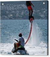 Flyboarder In Pink Shorts Above Jet Ski Acrylic Print