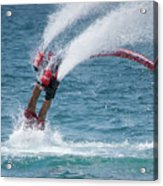 Flyboarder In Red Entering Water With Spray Acrylic Print