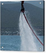Flyboarder In Silhouette Balancing High Above Water Acrylic Print