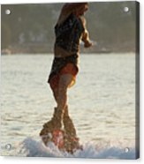 Flyboarder Twisting Upper Body Just Above Waves Acrylic Print