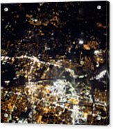 Flying At Night Over Cities Below Acrylic Print