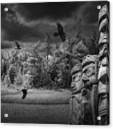 Flying Ravens And Totem Poles In Black And White Acrylic Print