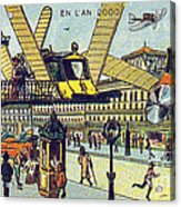 Flying Taxicabs, 1900s French Postcard Acrylic Print