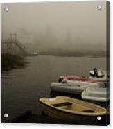 Fog And Dingies In Cape Harbor Maine On A Misty Morning Acrylic Print