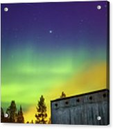 Fog And Northern Lights At Sapmi Museum Karasjok Norway Acrylic Print