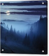 Fog Around The Mountain Top At Night Acrylic Print