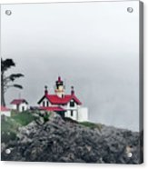 Fog Comes Rolling In - Battery Point Lighthouse - Crescent City Ca Acrylic Print by Christine Till