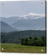 Fog Forming In The Mountains Acrylic Print