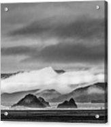 Beach Walking In The Fog Acrylic Print