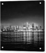 Fog Shrouded Midtown Manhattan In Black And White Acrylic Print