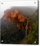 Fog Sunrise And Waterfalls Acrylic Print