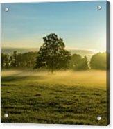 Foggy Autumn Morning On The Farm Acrylic Print