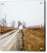 Foggy Country Road Acrylic Print
