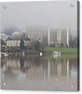 Foggy Day Along Portland Waterfront Panorama Acrylic Print
