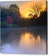 Foggy Fall Sunrise Acrylic Print