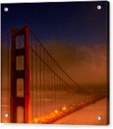 Foggy Golden Gate At Sunset Acrylic Print
