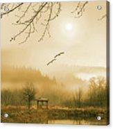 Foggy Lake And Three Couple Of Birds Acrylic Print