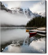 Foggy Morning At Moraine Lake Acrylic Print