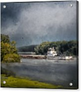 Foggy Morning At The Barge Harbor Acrylic Print