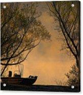 Foggy Morning Fishing Boat Acrylic Print