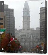 Foggy Philadelphia Acrylic Print