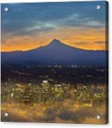 Foggy Portland City Downtown At Dawn Acrylic Print