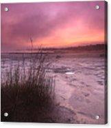 Foggy Sunset At Singing Sands Acrylic Print
